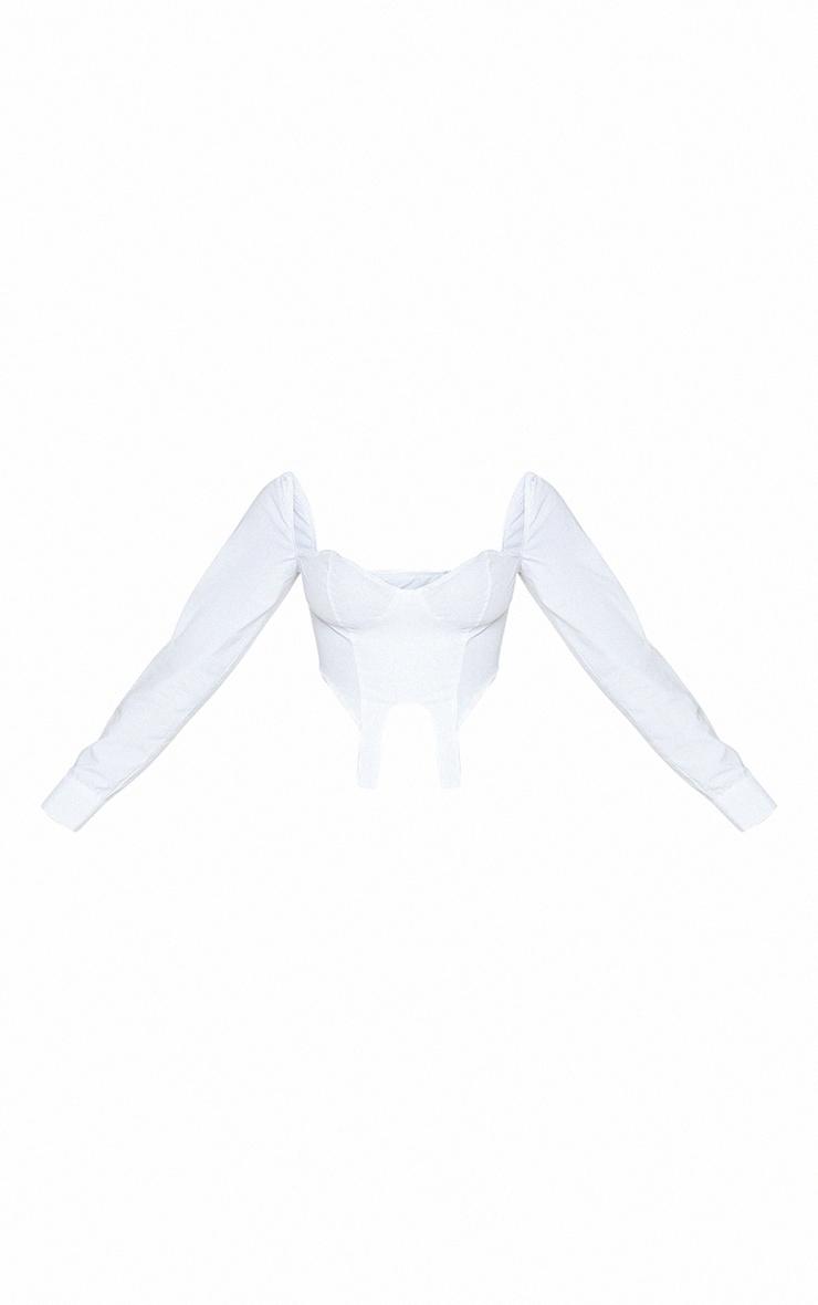 White Woven Stirrup Detail Long Sleeve Crop Top 5