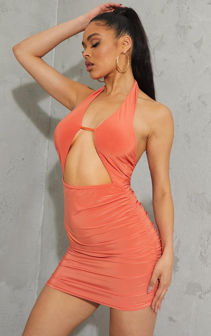 Orange Slinky Halterneck Bust Detail Bodycon Dress