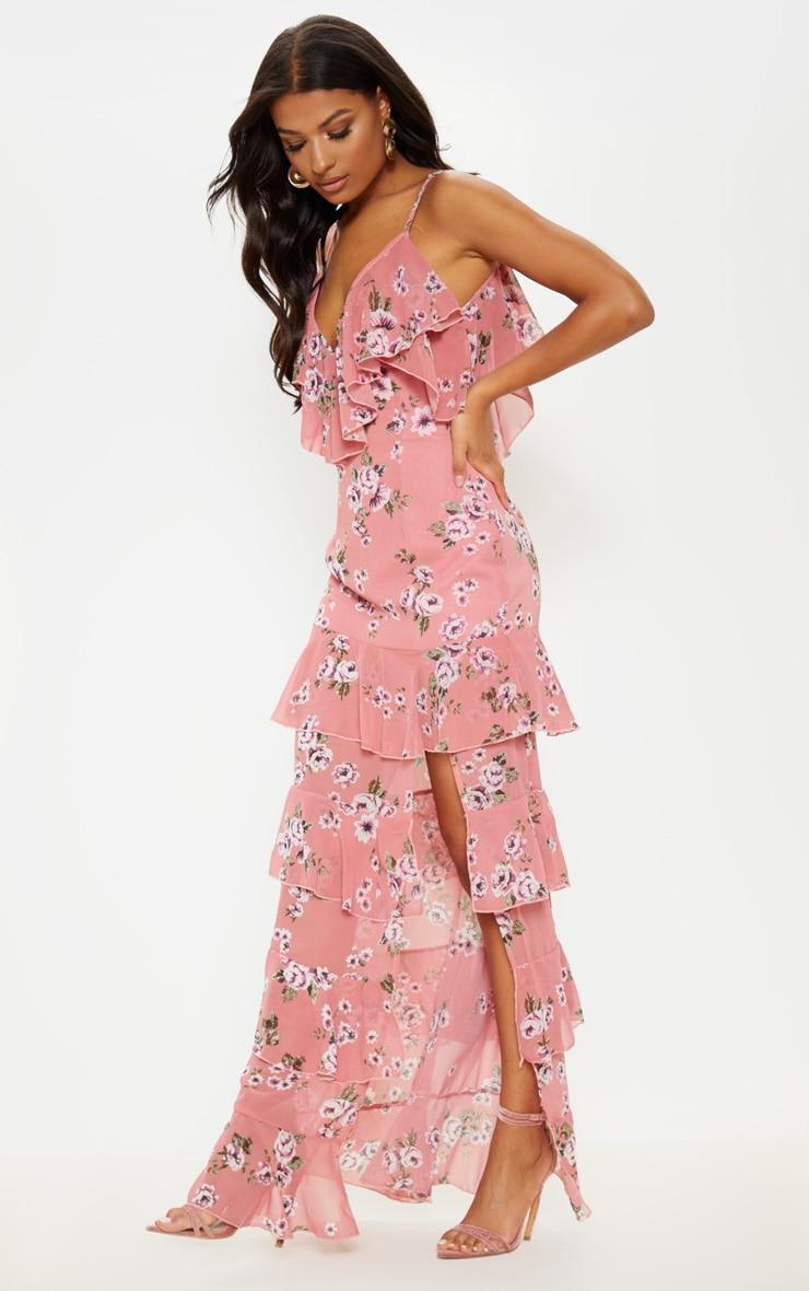 Robe longue rose imprimée à volants et fente sur le côté 4