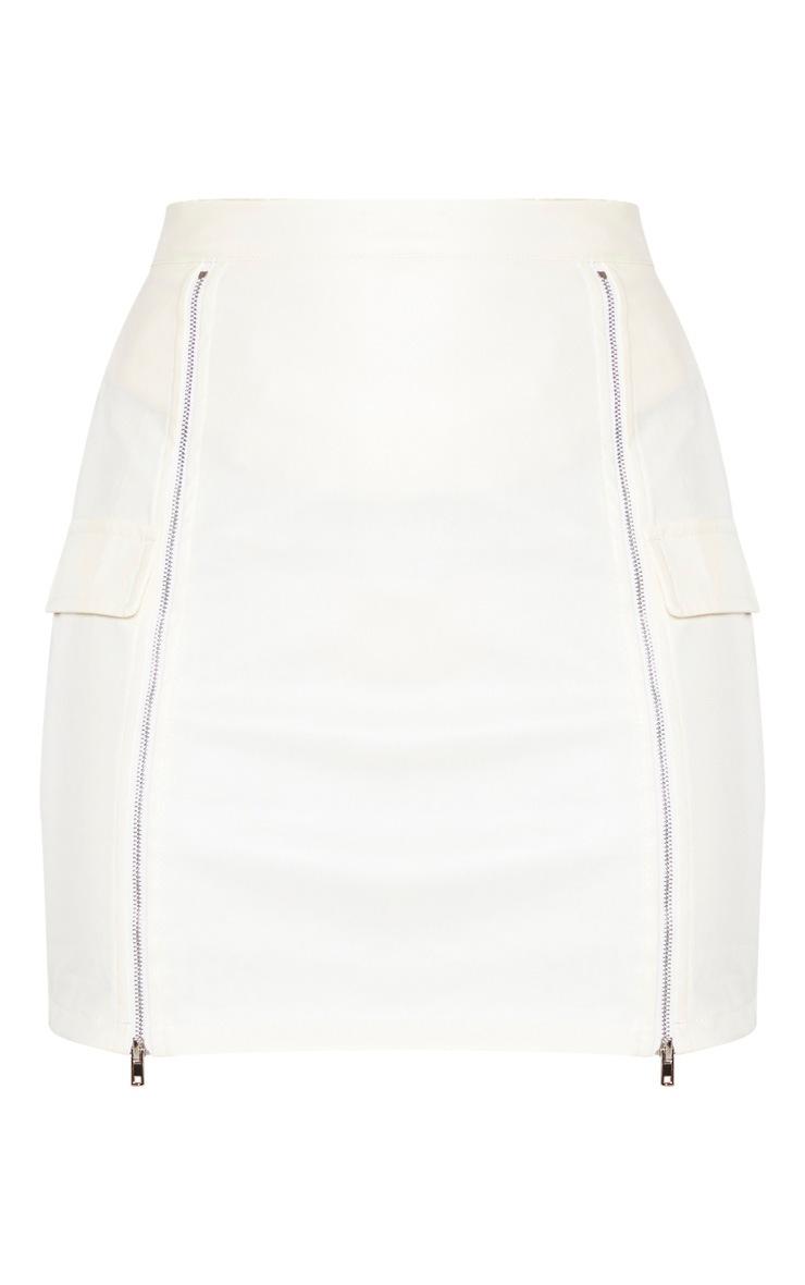 Cream Faux Leather Zip Split Detail Mini Skirt  3