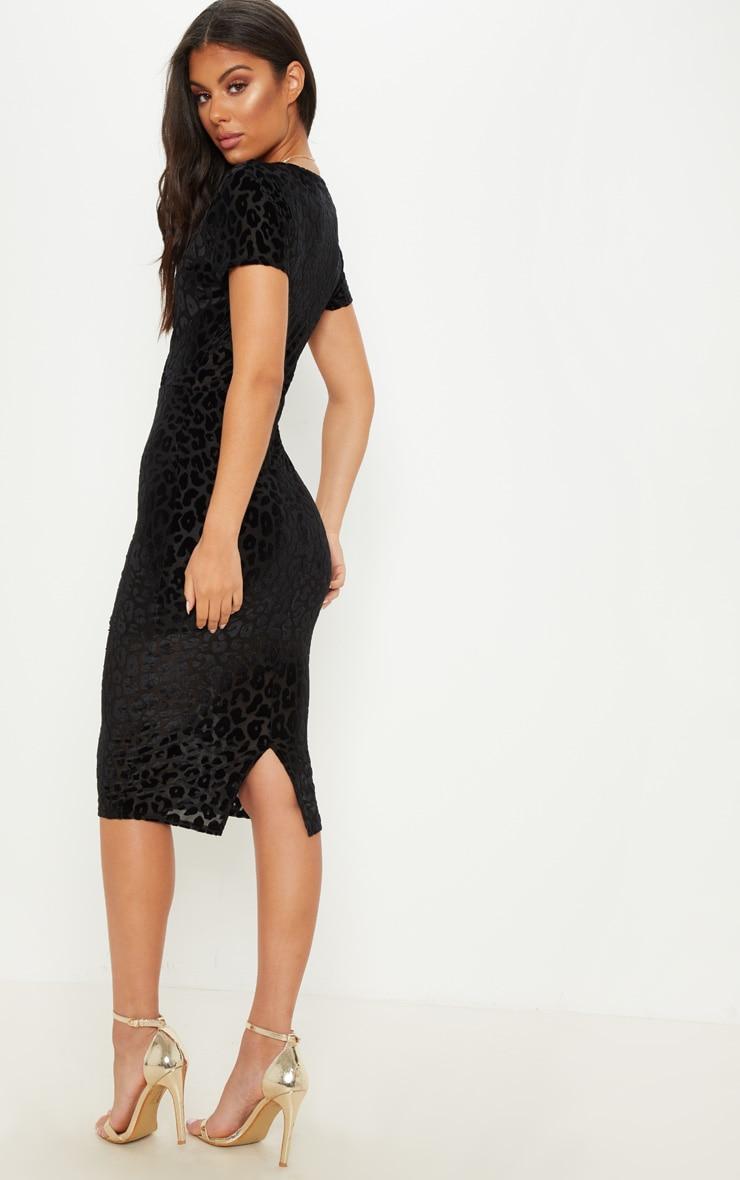 Black Burnout Leopard Print Wrap Front Midi Dress 4