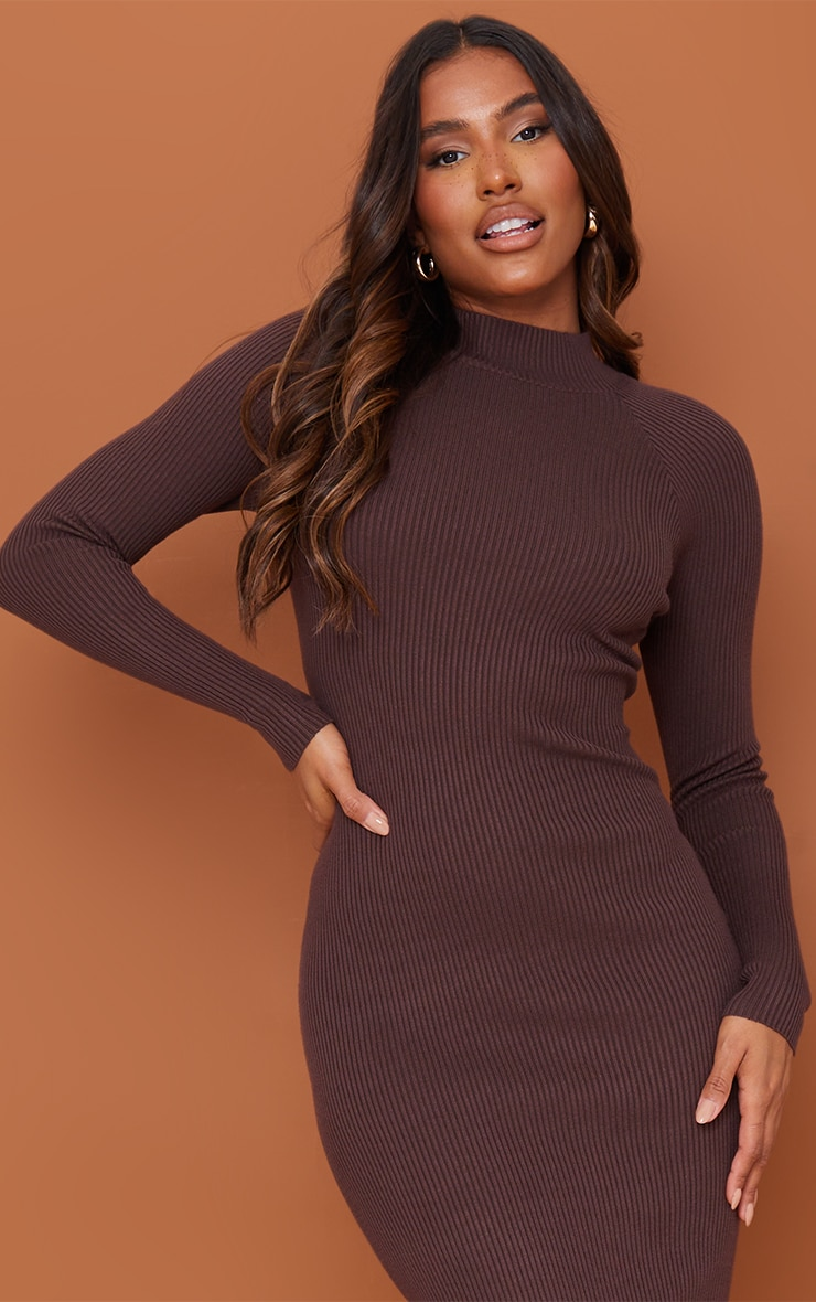 Chocolate Turtle Neck Knitted Bodycon Maxi Dress 4