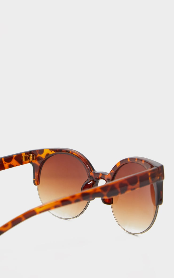 Brown Semi Frameless Animal Print Sunglasses 4