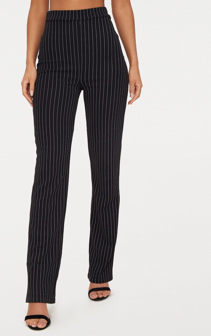 Pantalon noir coupe droite à rayures fines 2