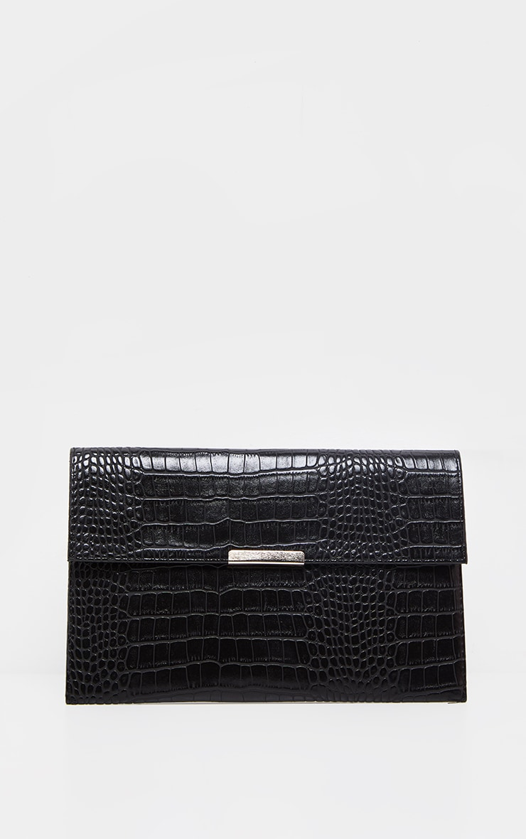 Black Croc Basic Clutch Bag 2