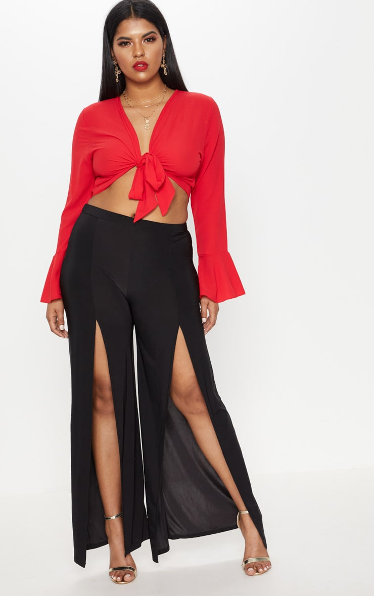 Plus Black Slinky Split Front Wide Leg Trousers 1