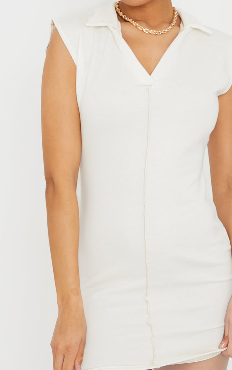 Cream Contrast Binding Collar Detail Sleeveless Bodycon Dress 4
