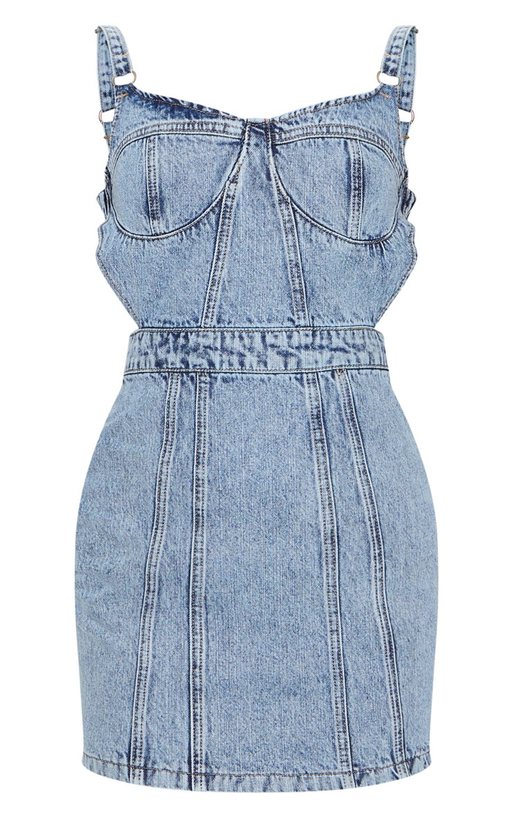 Acid Blue Wash Corset Cut Out Denim Dress 5