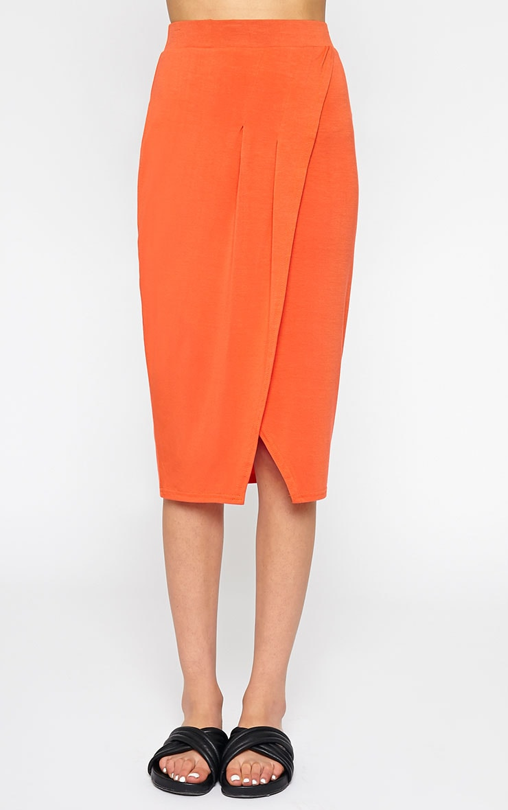 Sabbina Orange Jersey Wrap Midi Skirt 2