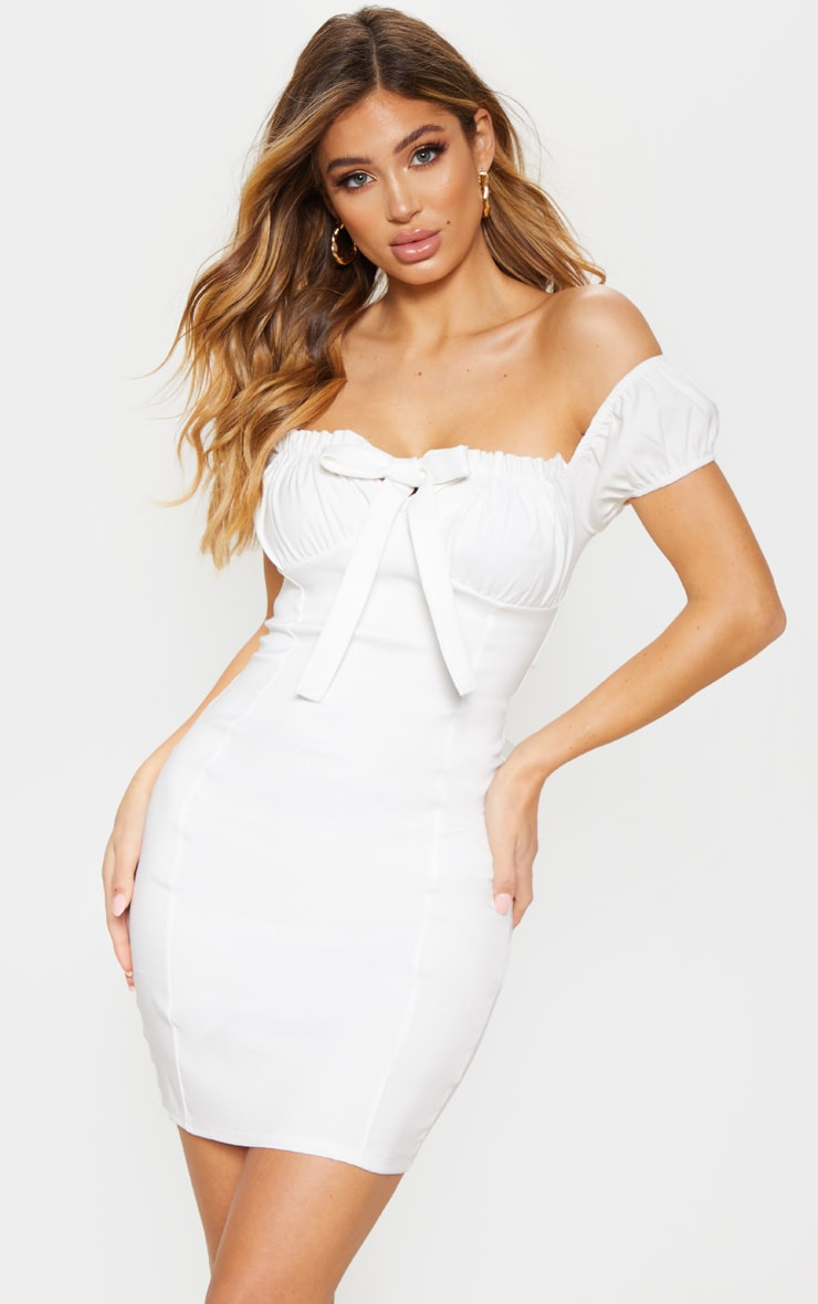 White Woven Bardot Tie Front Bodycon Dress 1