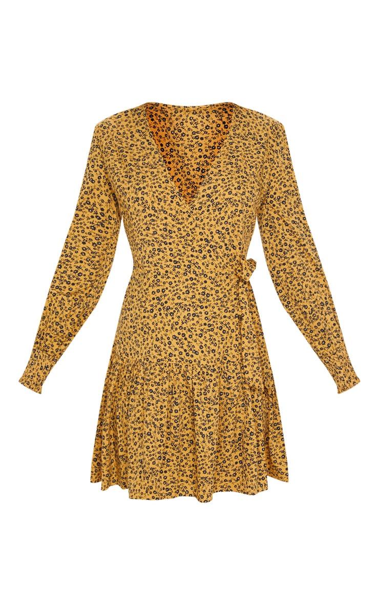 Mustard Ditsy Floral Frill Hem Wrap Front Tea Dress 3