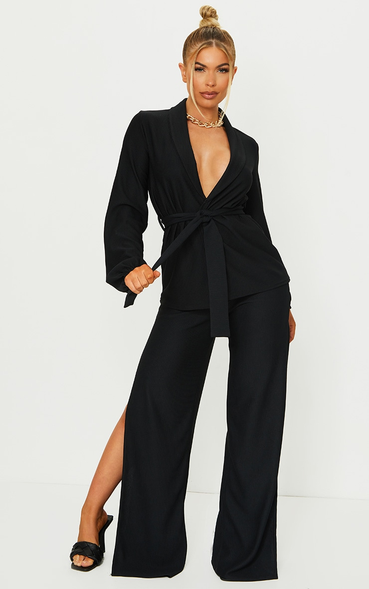 Black Wide Rib Belted Balloon Sleeve Blazer 3