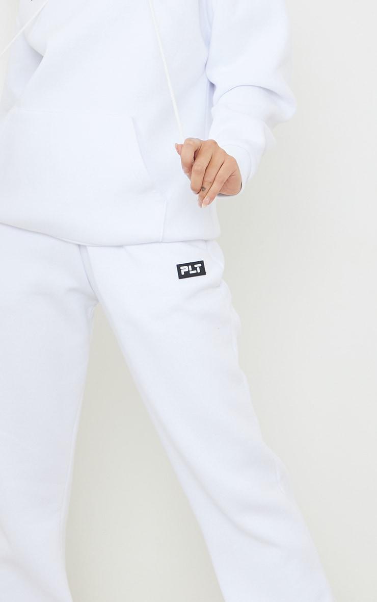 PRETTYLITTLETHING White Badge Detail Straight Leg Joggers 4