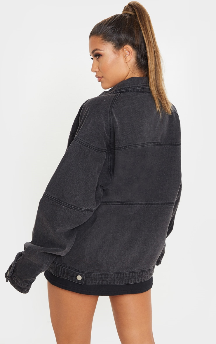 Washed Black Oversized Trucker Boyfriend Denim Jacket 2