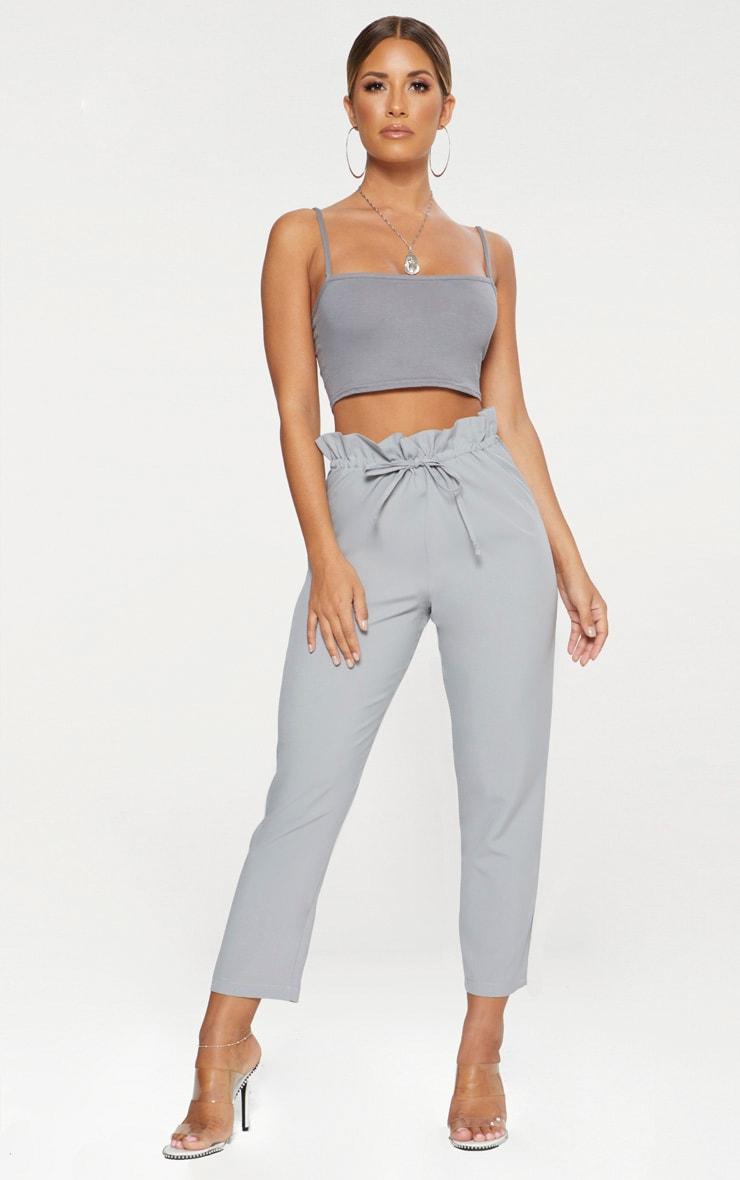Grey Woven Paperbag Slim Leg Trousers