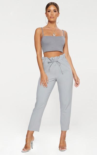 Grey Woven Paperbag Slim Leg Trousers