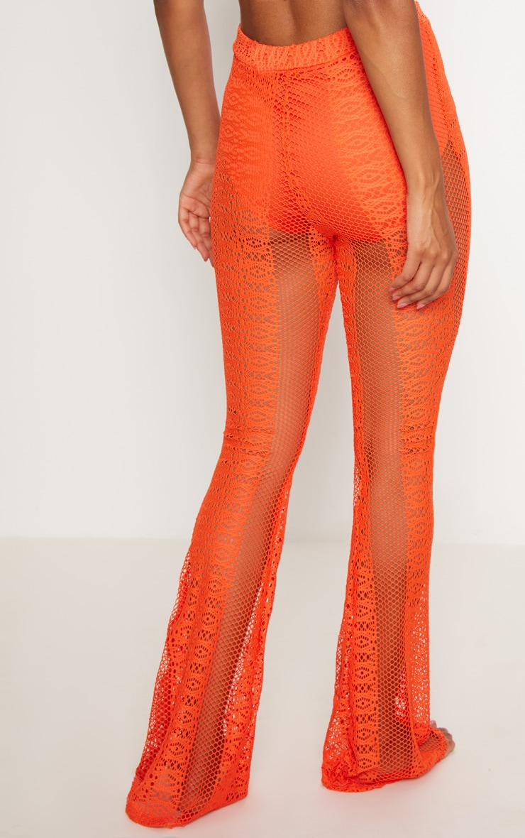 Hot Orange Fishnet Crochet Flare 4