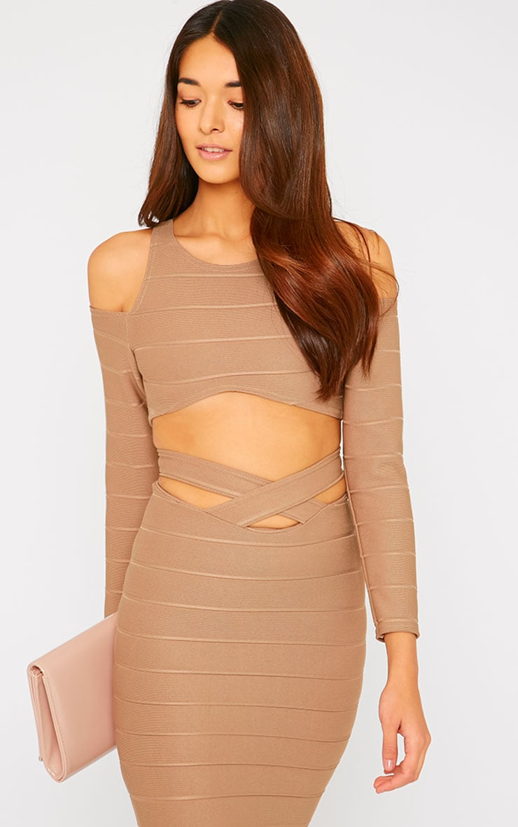 Jaimie Mocha Cut Out Curved Hem Bandage Crop Top 1