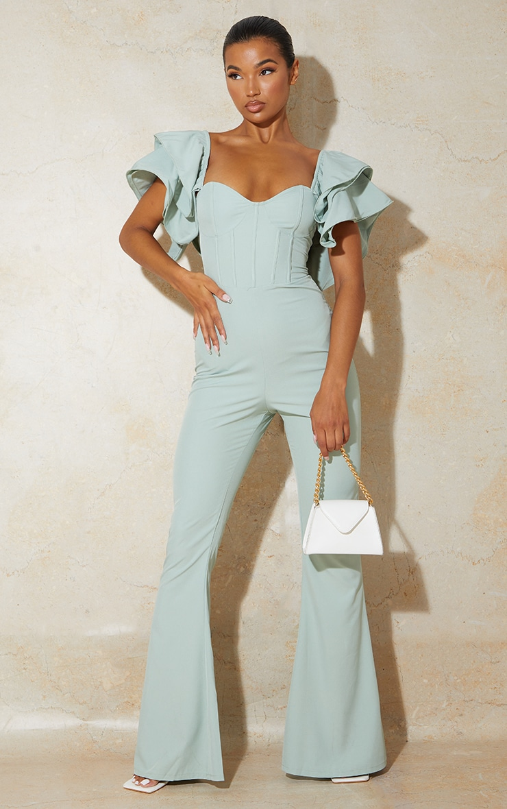 Sage Green Lace Back Frill Sleeve Jumpsuit 2