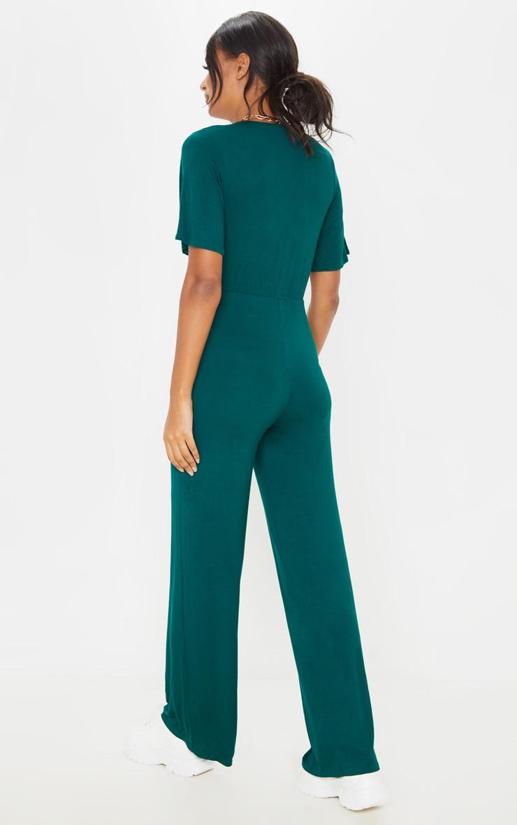 Emerald Green Wrap Front Short Sleeve Jumpsuit 2