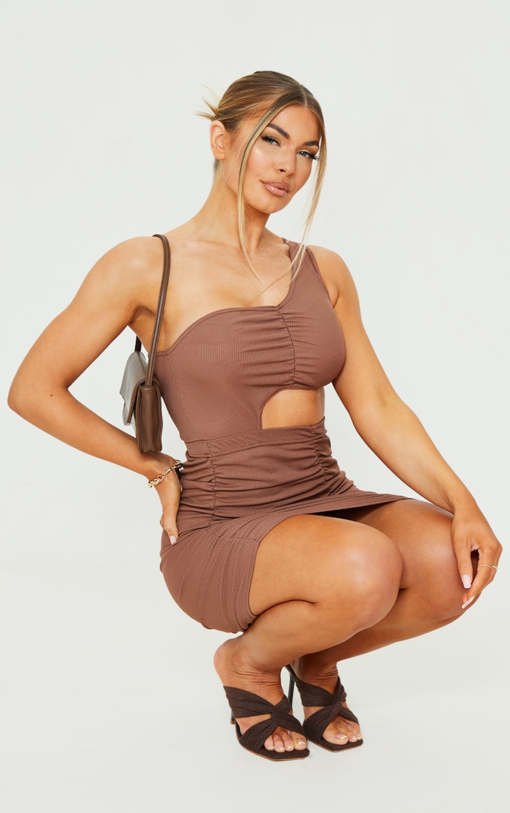 Chocolate Ribbed One Shoulder Ruched Cut Out Bodycon Dress 3