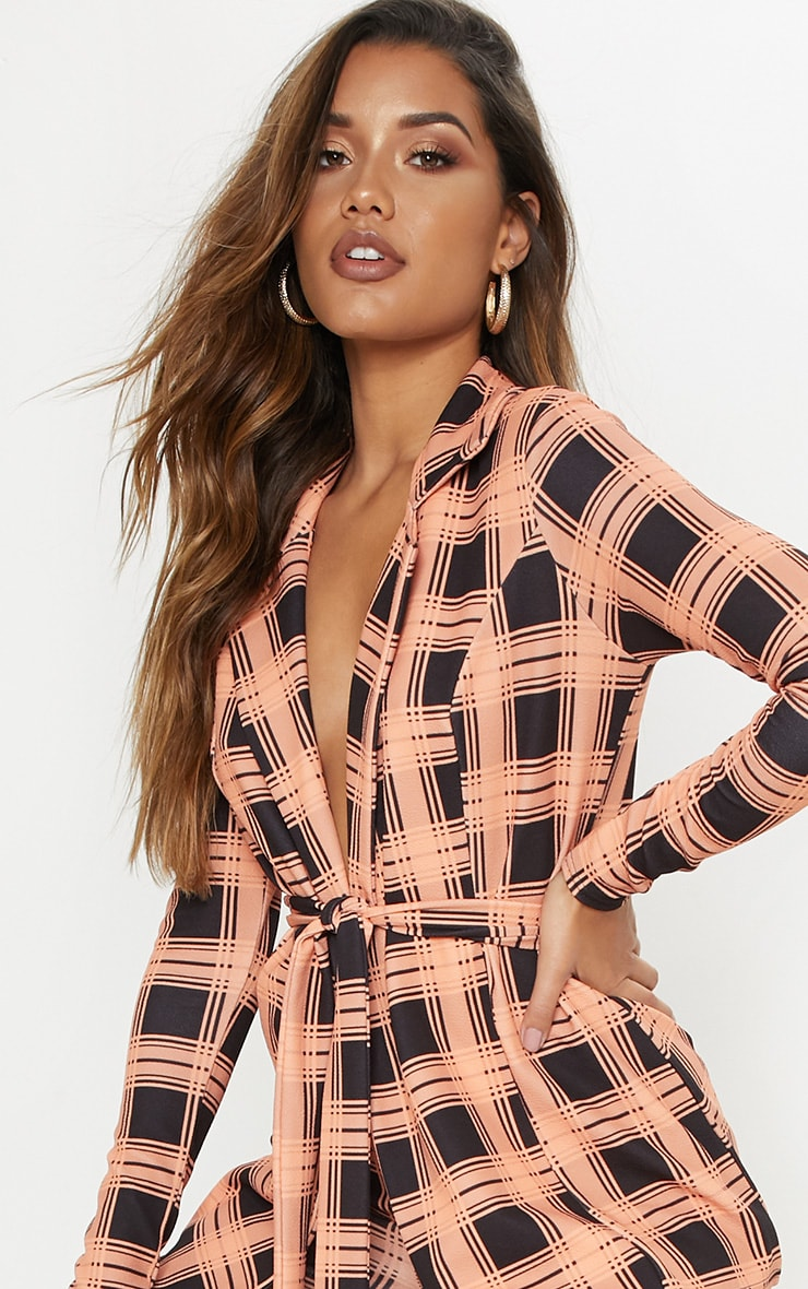 Orange Checked Belted Blazer  5
