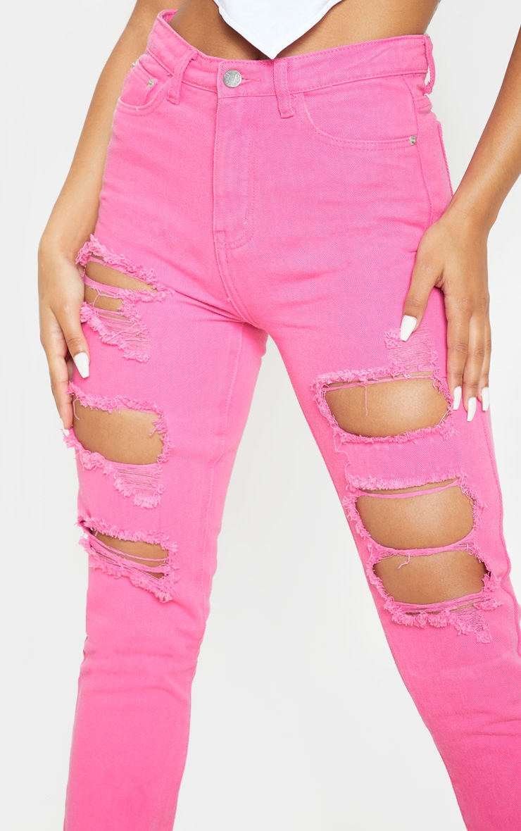 Bright Pink Extreme Distressed Mom Jeans 5