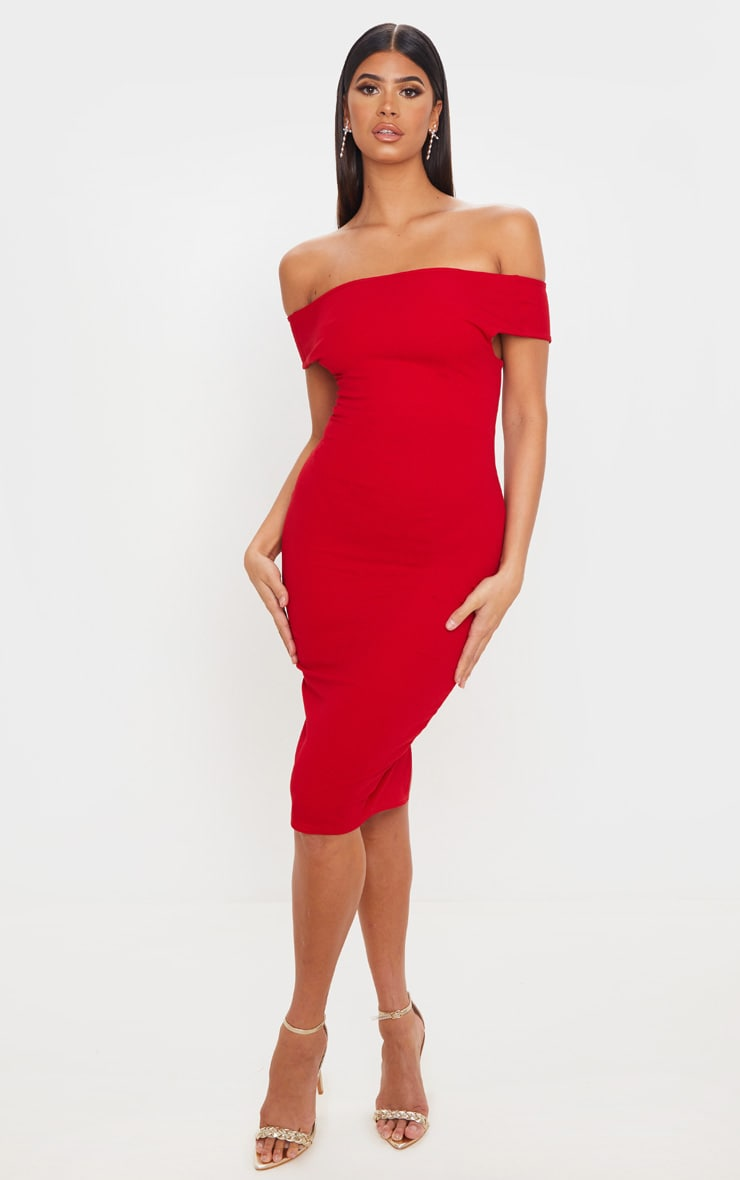 Red Bardot Cross Back Midi Dress 1