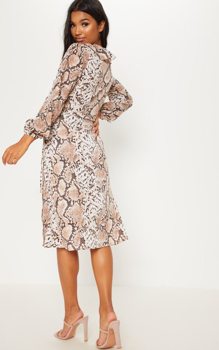Snake Wrap Printed Frill Detail Midi Tea Dress 2