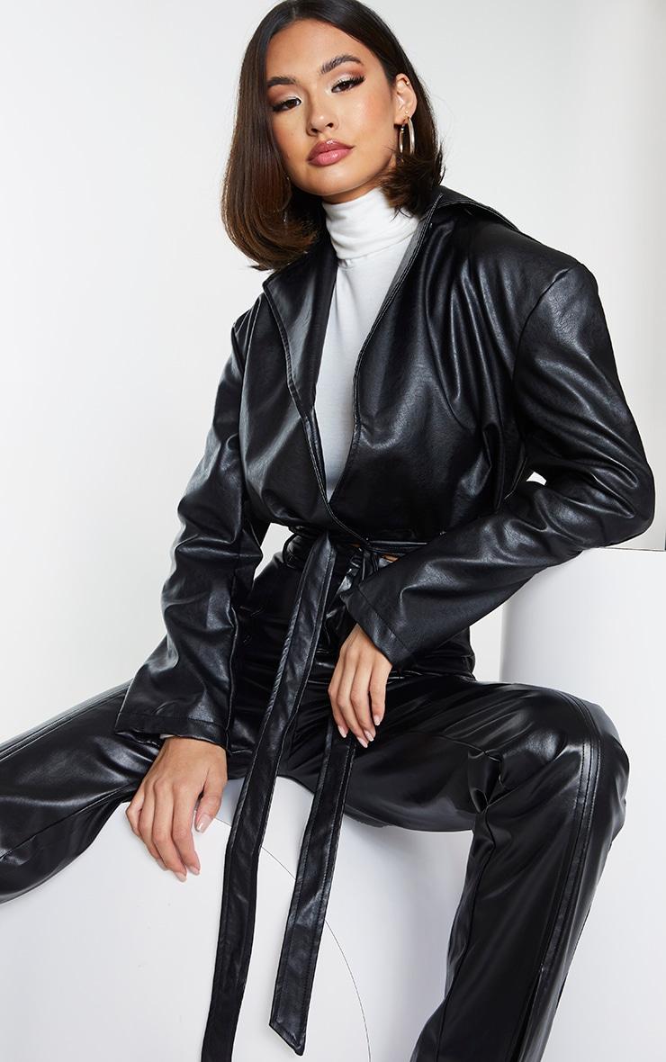 Black Faux Leather Super Cropped Belted Front Jacket 1