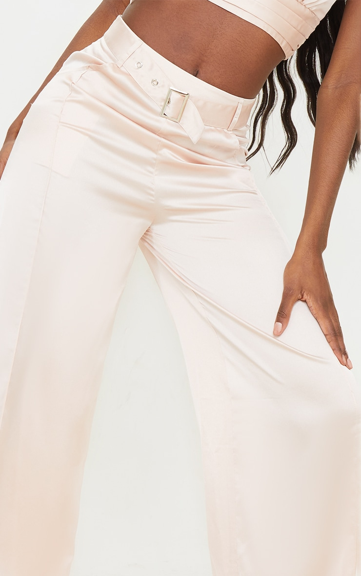 Tall Stone Satin High Waisted Belted Trousers 4