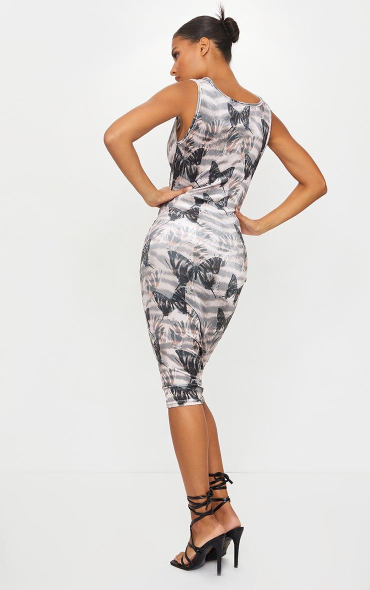 Stone Butterfly Print Velvet Cowl Neck Midi Dress 2