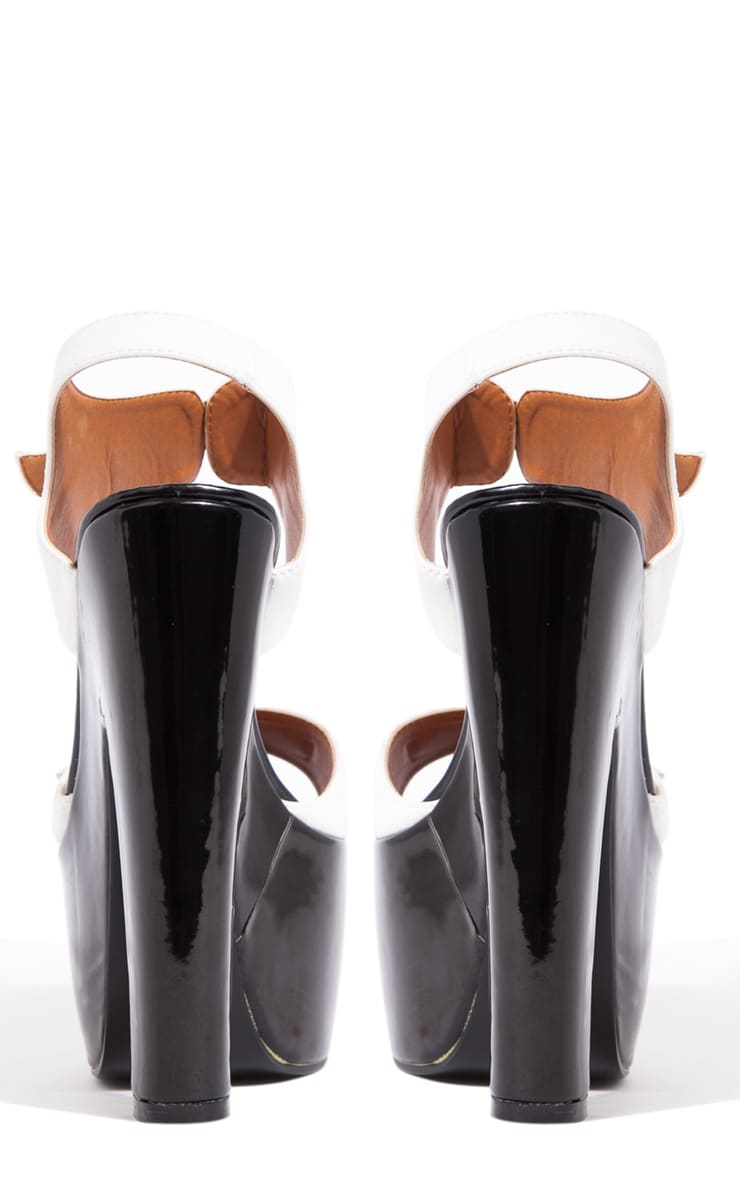 Nina White Buckle Sandals With Black Heel  2