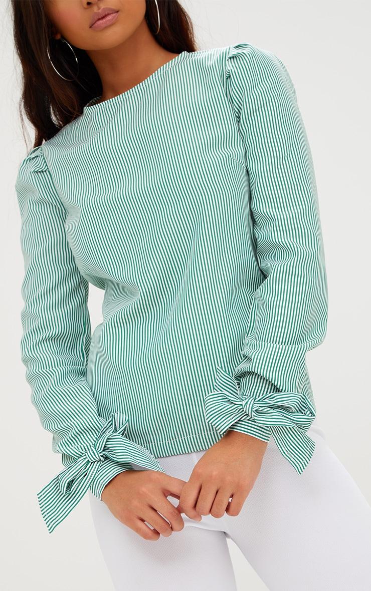 Green Stripe Corset Back Tie Sleeve Shirt 5