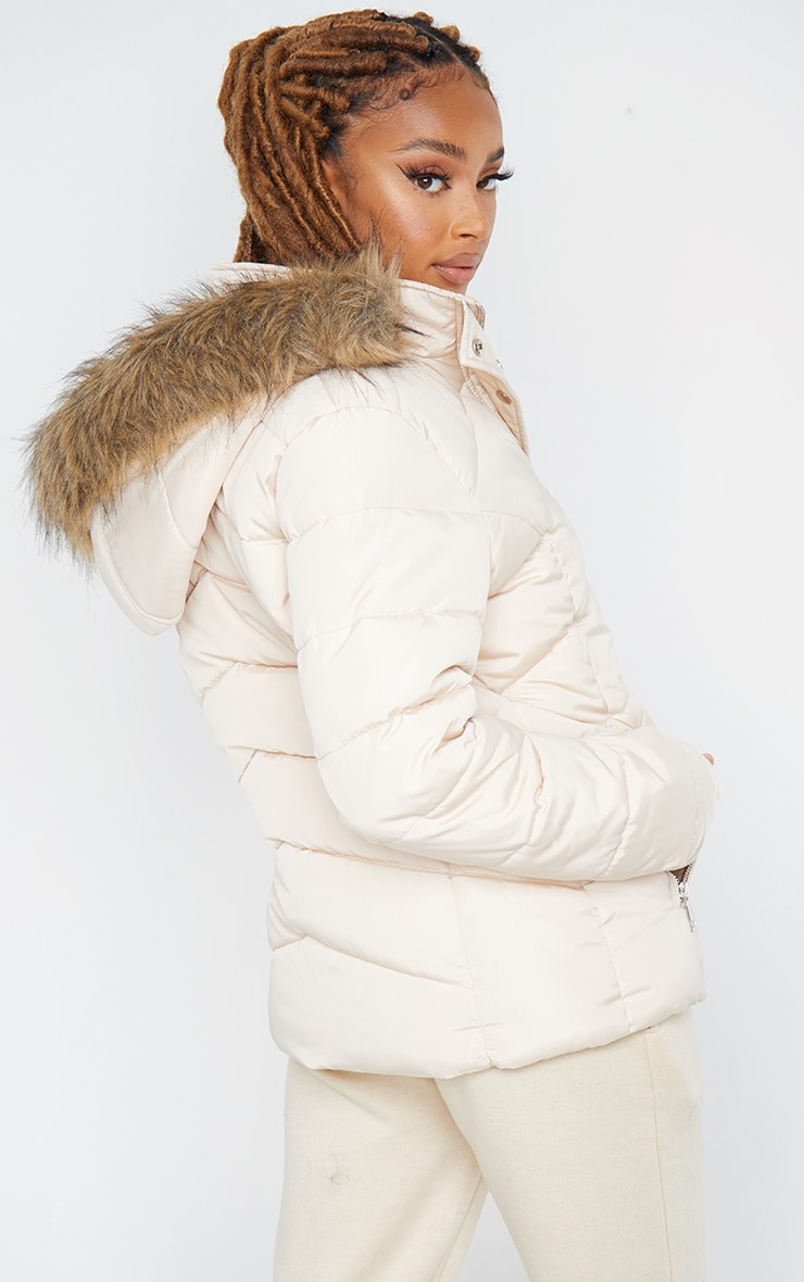 Stone Quilted Mara Faux Fur Hooded Puffer Jacket 2