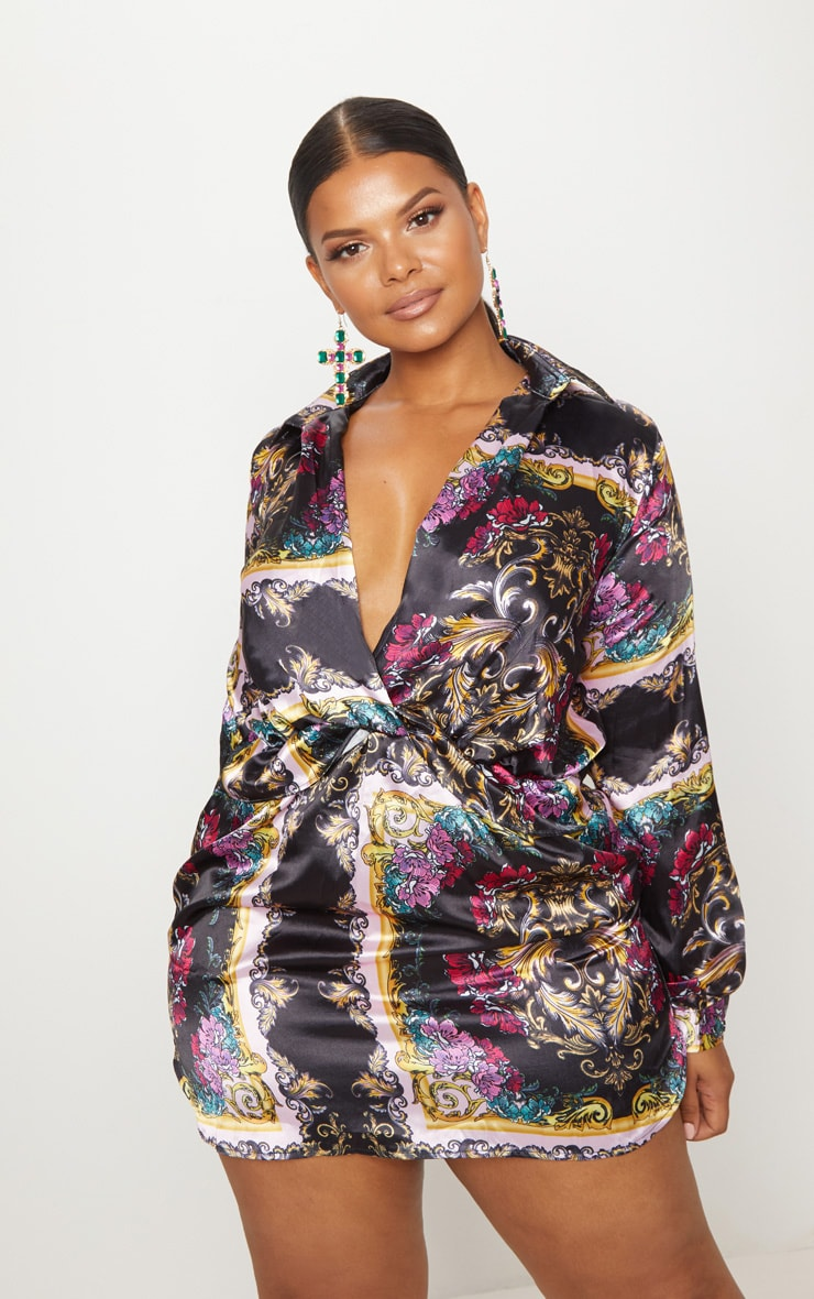 Plus Pink Scarf Print Twist Front Silky Shirt Dress