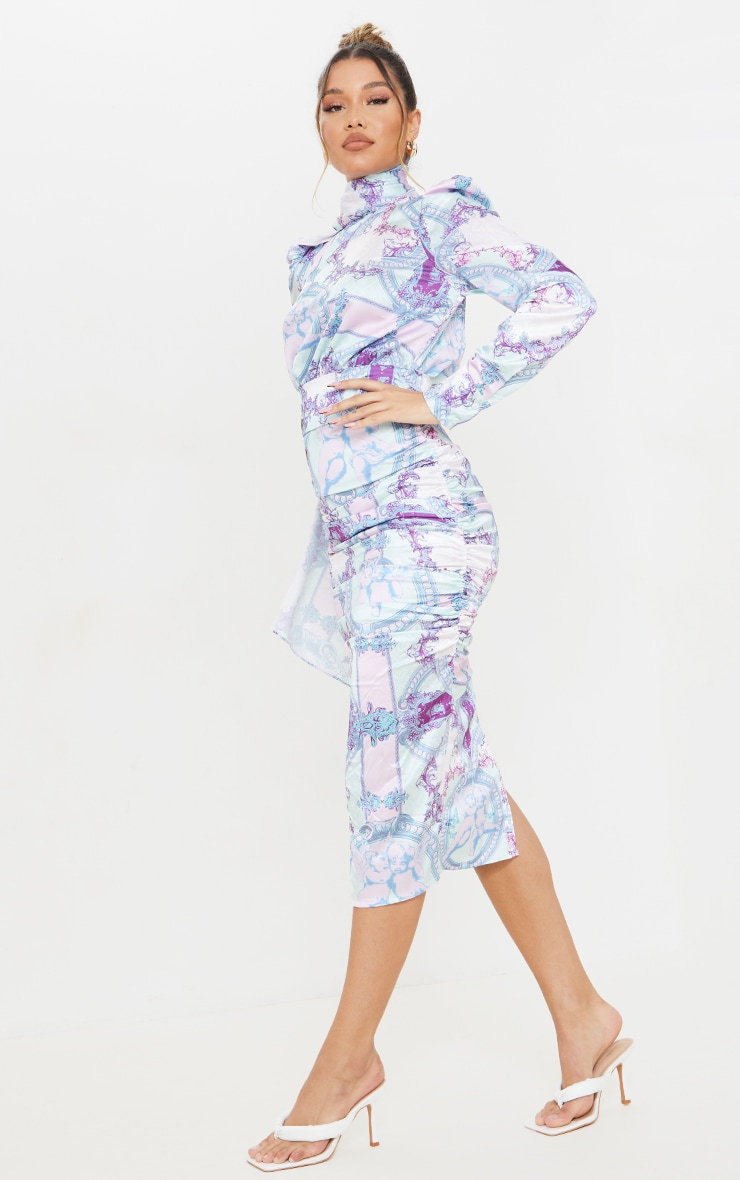 Lilac Paisley Printed Puff Sleeve Dress with Hijab 3