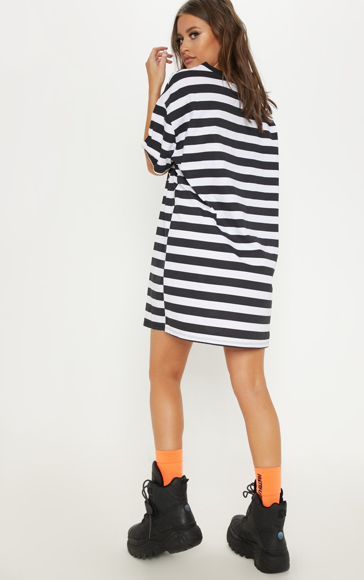 Black Looney Tunes Oversized Stripe T Shirt Dress 2
