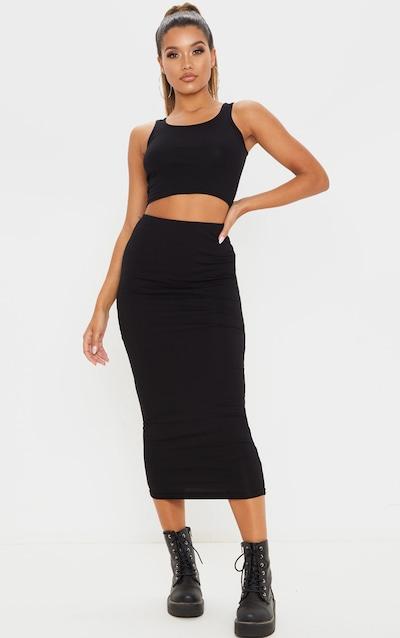 Black Cotton Midi Skirt
