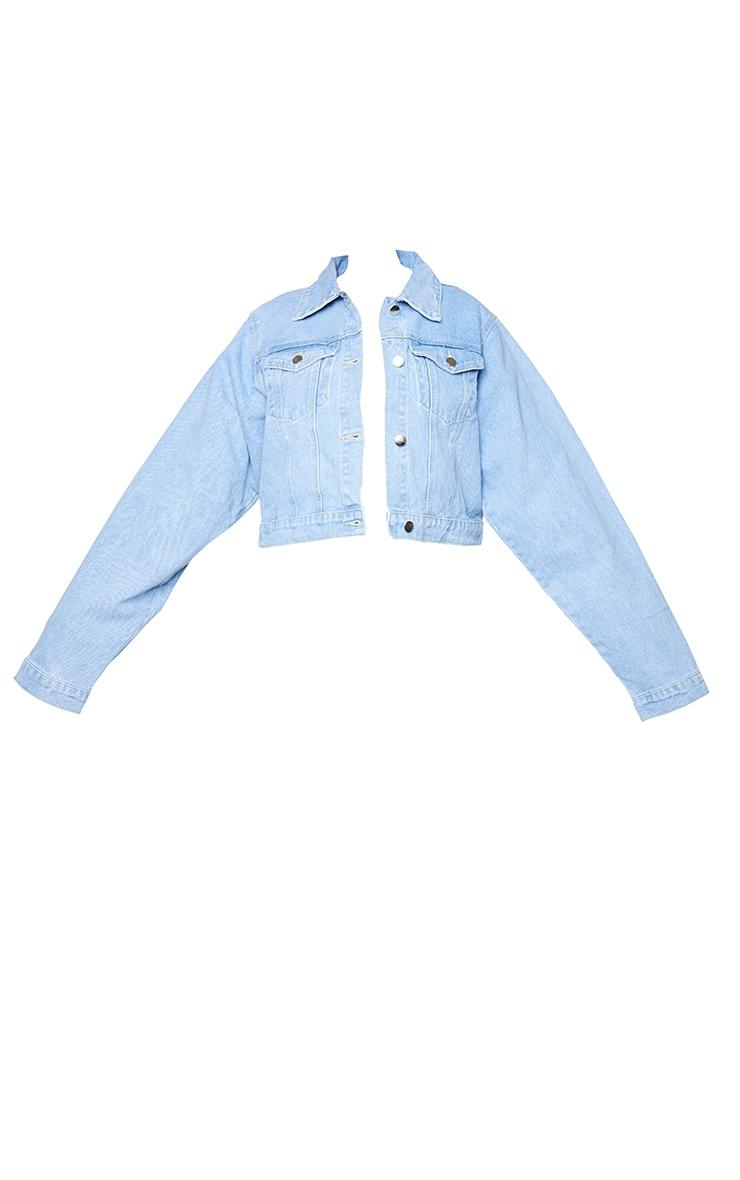 PRETTYLITTLETHING Plus Light Blue Wash Cropped Denim Jacket 5