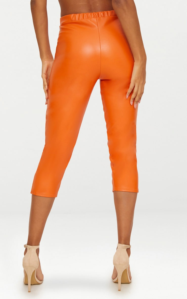 Orange Faux Leather Split Cropped Trousers 4