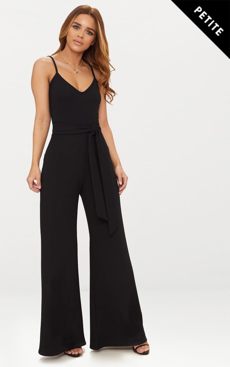 Petite Black Tie Waist Wide Leg Jumpsuit 1