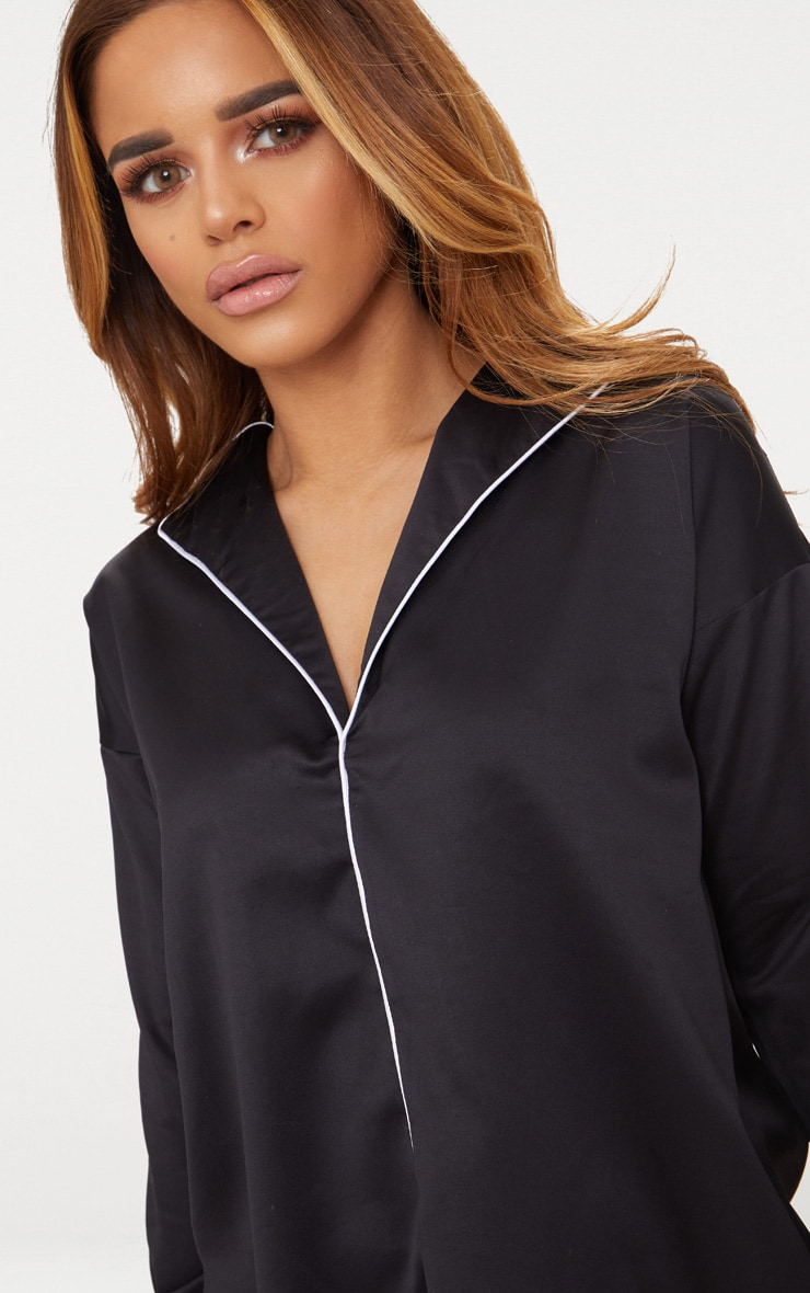 Petite Black  Satin Contrast Shirt 5