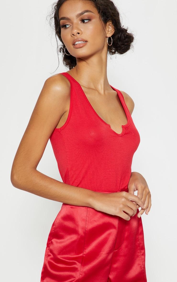 Red V Sleeveless Bodysuit 6