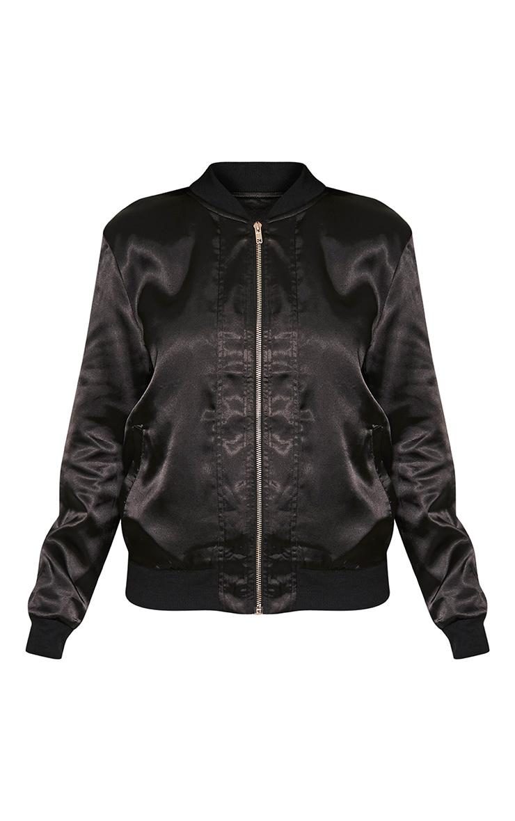 Tonia Black Satin Oriental Embroidered Bomber Jacket 3