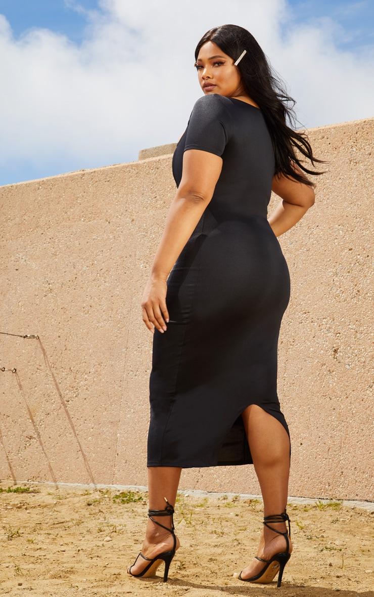 Plus Black Second Skin Square Neck Cut Out Midaxi Dress 2