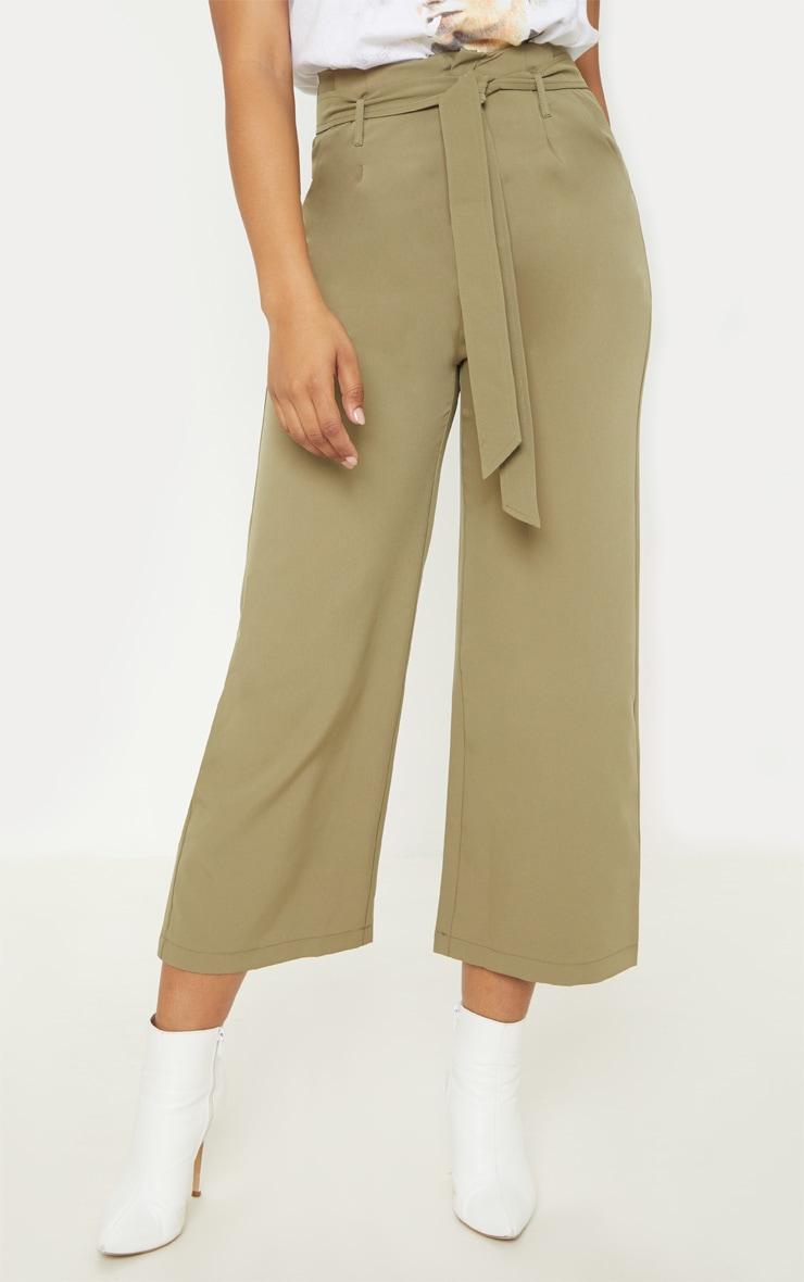 Tall Olive Green Woven Belt Detail Wide Leg Culotte 2
