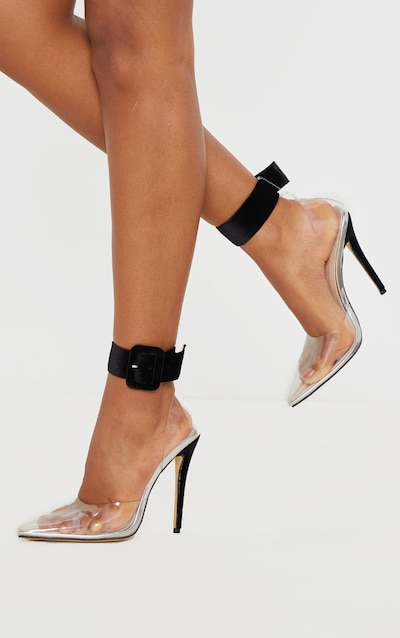 Black Velvet Cuff Detail Clear Court Shoes