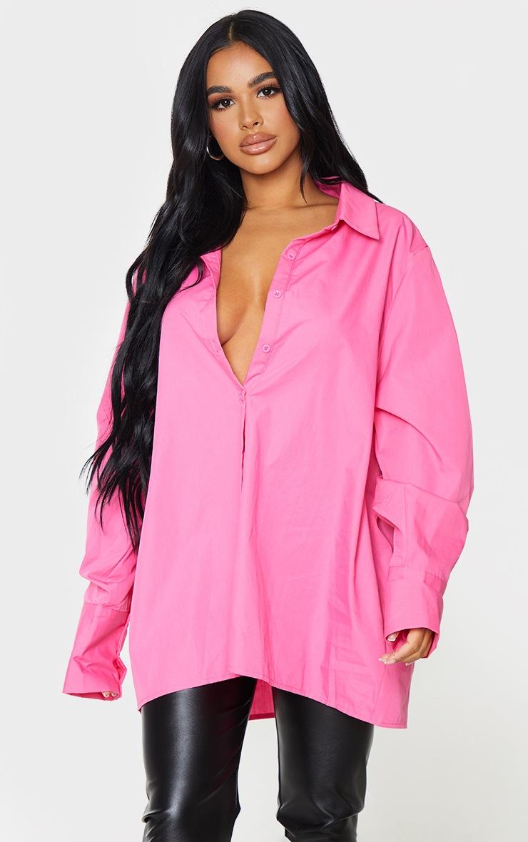 Petite Pink Oversized Cuff Detail Shirt 3