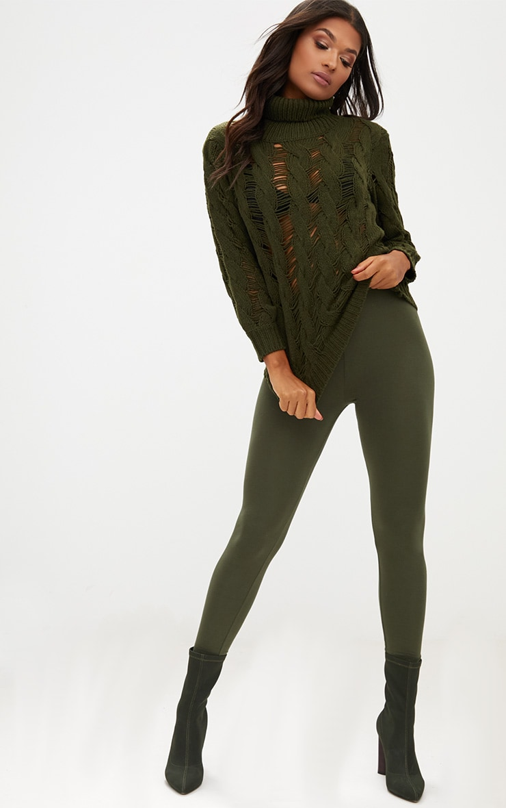 Khaki Roll Neck Distressed Knitted Jumper  4